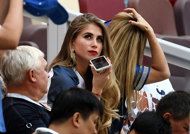 France's midfielder Paul Pogba's Bolivian girlfriend Maria Salaues (C) is pictured in the stands before the Russia 2018 World Cup Group C football match between Denmark and France at the Luzhniki Stadium in Moscow on June 26, 2018