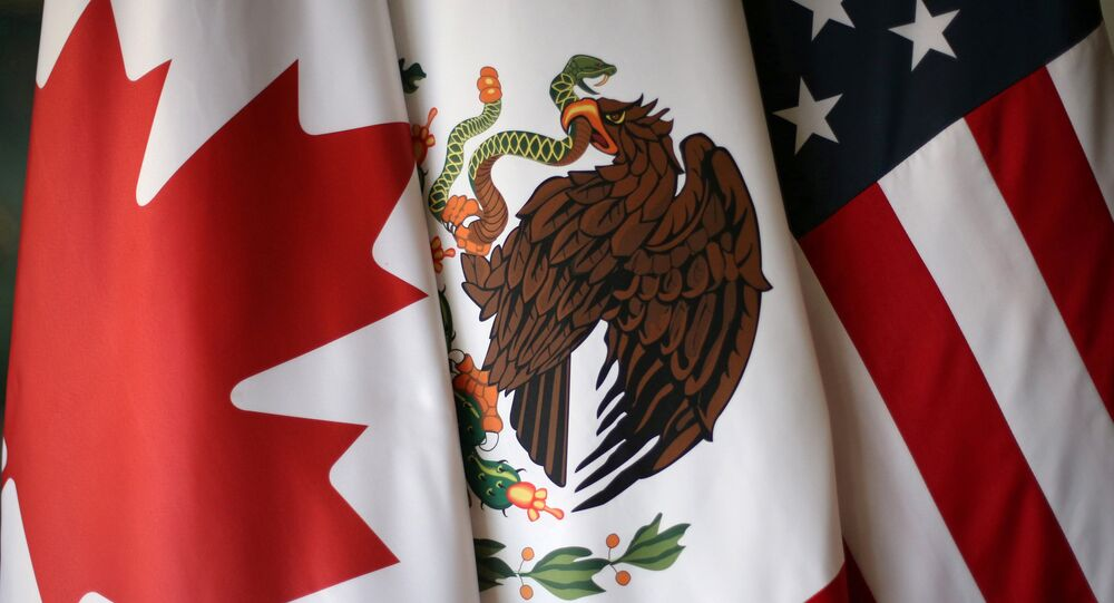 FILE PHOTO: Flags are pictured during NAFTA talks involving the United States, Mexico and Canada, in Mexico City, Mexico, November 19, 2017