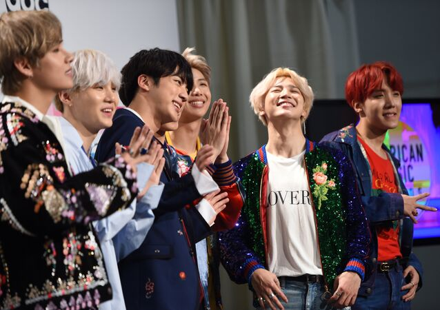 Boy band BTS poses in the press room at the 2017 American Music Awards, on November 19, 2017, in Los Angeles, California