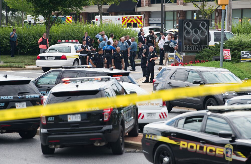 Police respond to a shooting in Annapolis, Maryland, June 28, 2018