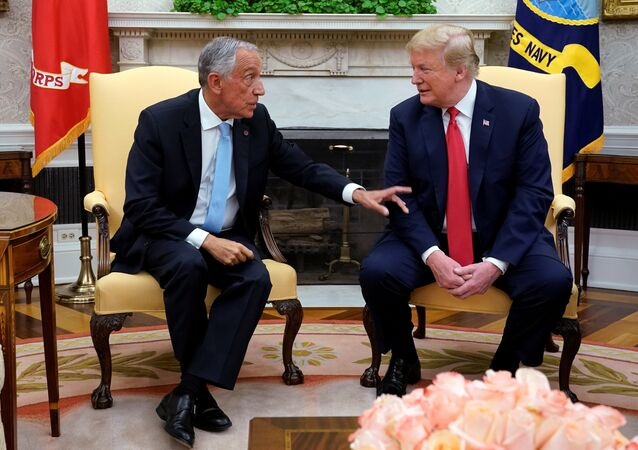 U.S. President Donald Trump meets with Portugal's President Rebelo de Sousa in the Oval Office at the White House in Washington, U.S. June 27, 2018