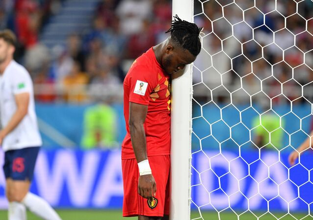 Belgium's Michy Batshuayi during the World Cup Group G soccer match between England and Belgium at the Kaliningrad Stadium, in Kaliningrad, Russia, June 28, 2018