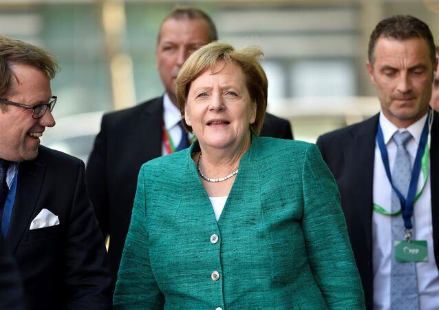 German Chancellor Angela Merkel arrives at a European People's Party (EPP) meeting ahead of a EU summit in Brussels, Belgium June 28, 2018