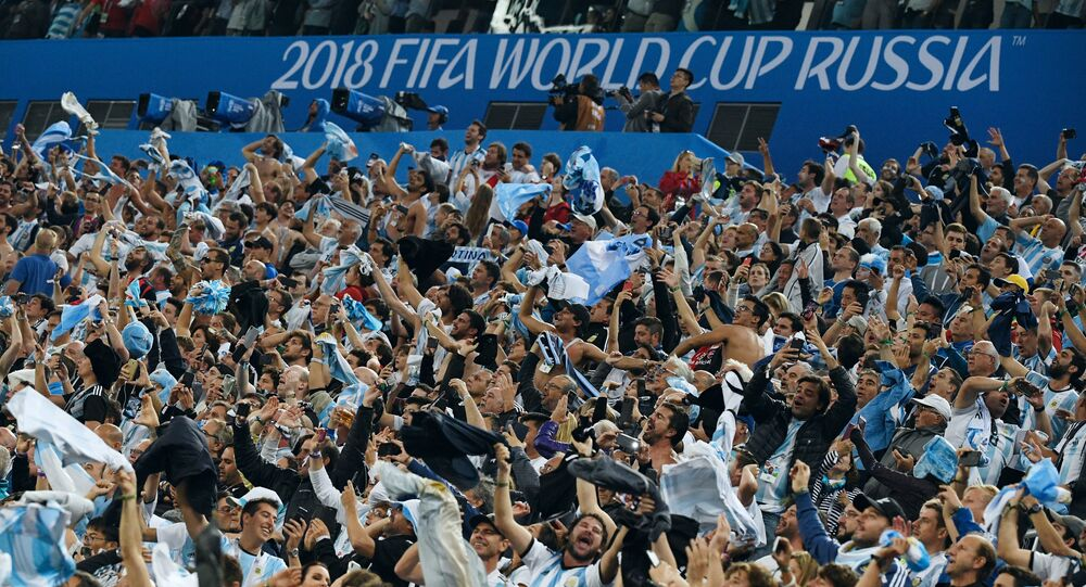 Argentina's fans celebrate their team's 2-1 victory at the World Cup Group D soccer match between Nigeria and Argentina at the Saint Petersburg Stadium, in Saint Petersburg, Russia, June 26, 2018