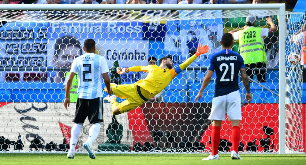 Soccer Football - World Cup - Round of 16 - France vs Argentina - Kazan Arena, Kazan, Russia - June 30, 2018 France's Hugo Lloris concedes as Argentina's Angel Di Maria scores their first goal