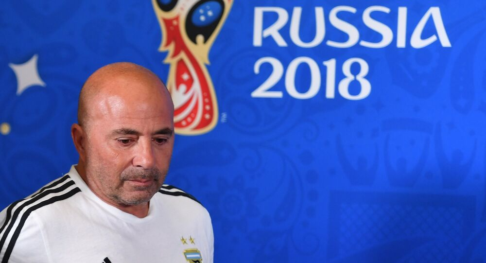 Argentina Head Coach Jorge Sampaoli After World Cup Match With France. 2018