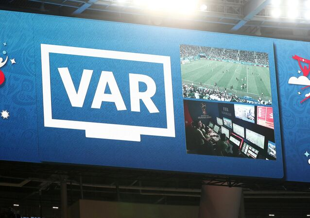 An incident is reviewed on VAR in World Cup match between Nigeria vs Argentina - Saint Petersburg Stadium, Russia