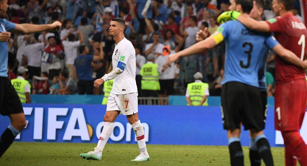Cristiano Ronaldo at Uruguay-Portugal FIFA World Cup match