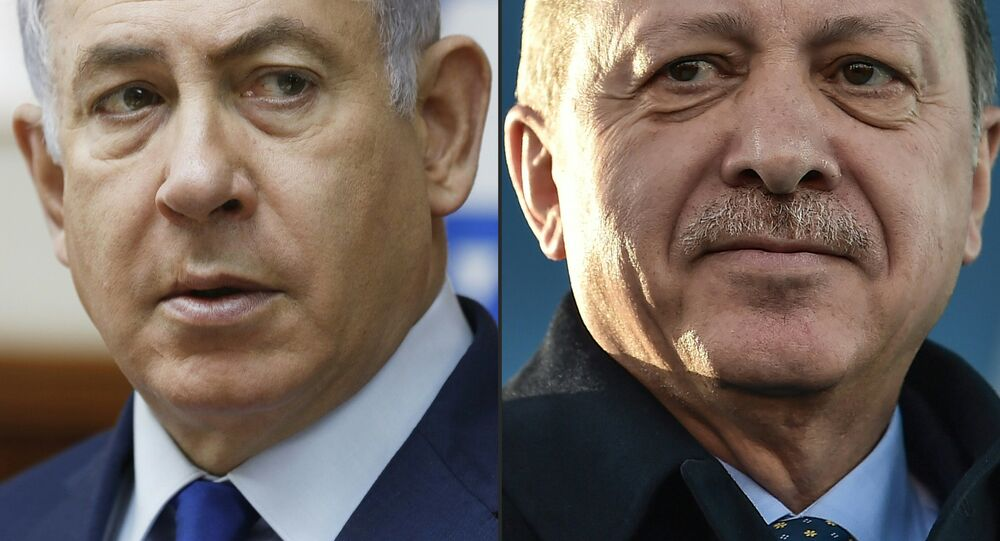 This combination of pictures created on April 1, 2018 shows a file photo taken on November 19, 2017 of Israel's Prime Minister Benjamin Netanyahu (L) attending the weekly cabinet meeting in Jerusalem and a file photo taken on December 15, 2017 of Turkish President Recep Tayyip Erdogan during the inauguration ceremony of Turkey's first automated urban metro line on the Asian side of Istanbul