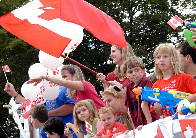 The Canada Day Parade making its way along Westminster Avenue in Montreal West