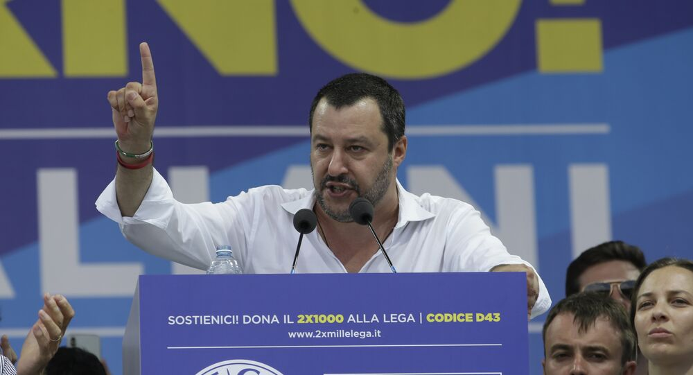Matteo Salvini gives his speech during the traditional League party rally in Pontida, northern Italy, Sunday, July 1, 2018