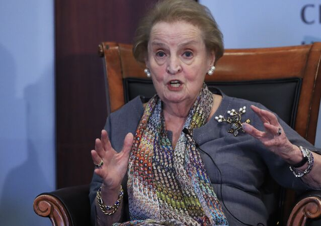 Former U.S. Secretary of State Madeleine Albright speaks about the current situation in the Korean penisula and northeast Asia at a forum in Washington, Monday, Sept. 25, 2017