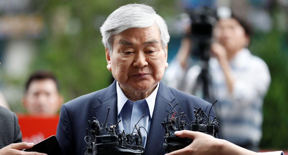 Korean Air Lines Chairman Cho Yang-ho arrives at a prosecutor's office in Seoul, South Korea, June 28, 2018