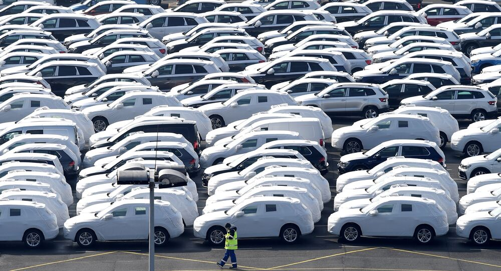 Volkswagen export cars are seen in the port of Emden, beside the VW plant, Germany March 9, 2018