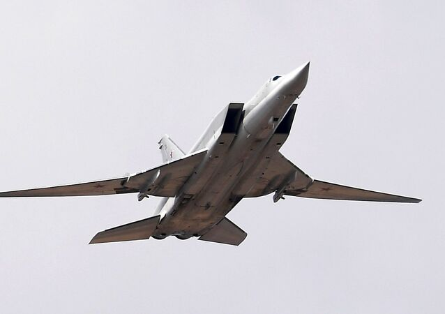 A Tupolev Tu-22M3 Backfire strategic bomber during a Victory Parade rehearsal at the Alabino training ground in the Moscow Region