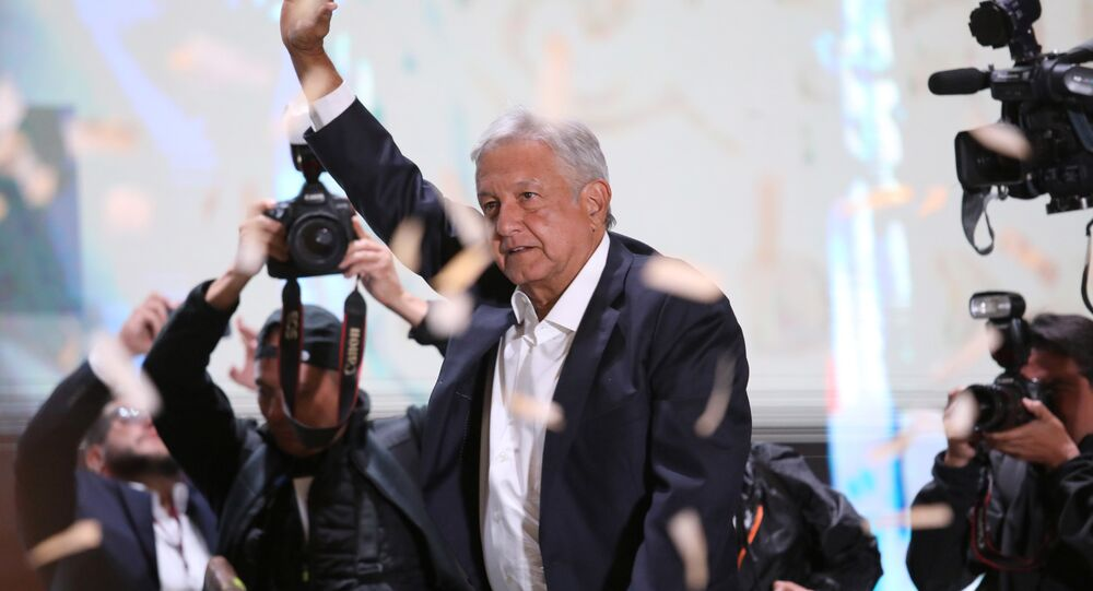 Presidential candidate Andres Manuel Lopez Obrador gestures as he addresses supporters in Mexico City, Mexico, July 1, 2018. Picture taken July 1, 2018