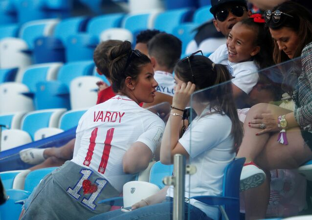 Soccer Football - World Cup - Group G - England vs Belgium - Kaliningrad Stadium, Kaliningrad, Russia - June 28, 2018 Rebekah Vardy, wife of England's Jamie Vardy, in the stands before the match