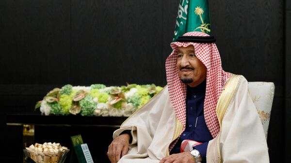 King Salman bin Abdulaziz Al Saud of Saudi Arabia during a meeting with Russian Defense Minister Sergei Shoigu. The image is a handout provided by a third party. Only for internal editorial use. Archiving, commercial use and promotion are prohibited - Sputnik International