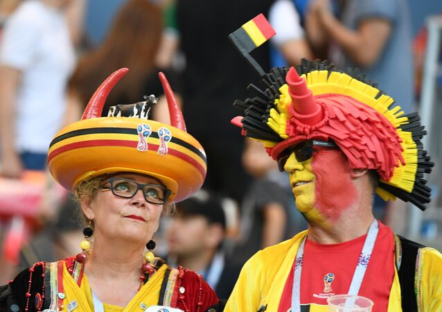 Belgian fans watch FIFA World Cup round 16 match of the national Team against Japan.