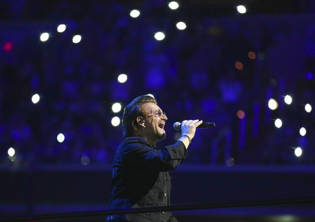 Singer Bono, of the band U2, performs on stage during the eXPERIENCE + iNNOCENCE Tour at Capitol One Arena on Sunday, June, 17, 2018, in Washington