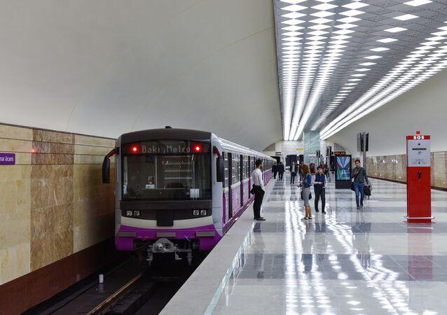 The platform at the Metro Station Avtovokzal in Baku