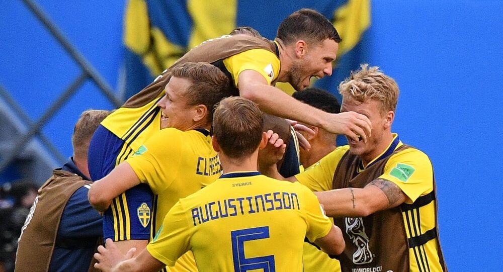 Soccer Football - World Cup - Round of 16 - Sweden vs Switzerland - Saint Petersburg Stadium, Saint Petersburg, Russia - July 3, 2018 Sweden's Oscar Hiljemark and team mates celebrate after the match