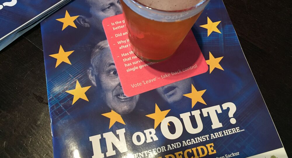 Brexit themed beermats and magazines in JD Wetherspoon's pub, Edinburgh, Scotland.