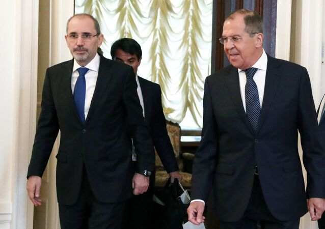 Russian Foreign Minister Sergei Lavrov, right, and Minister of Foreign Affairs and Expatriates of the Hashemite Kingdom of Jordan Ayman Safadi during talks at the Foreign Ministry Reception House