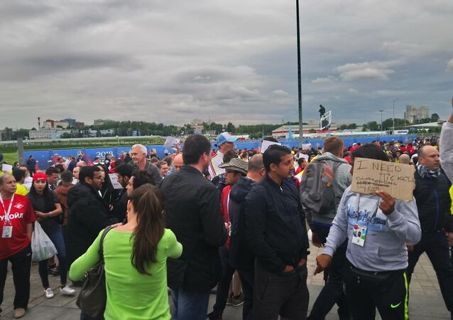 Football fans near the Spartak Stadium in Moscow ahead of England-Colombia match