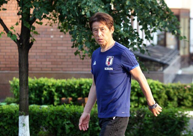 Soccer Football - World Cup - Japan Media Scrum - FC Rubin Kazan training base, Kazan, Russia - July 3, 2018 Japan's coach Akira Nishino arrives for media scrum