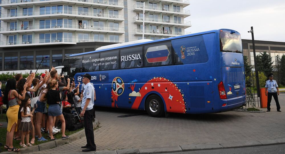 Arrival of Russian football team in Sochi
