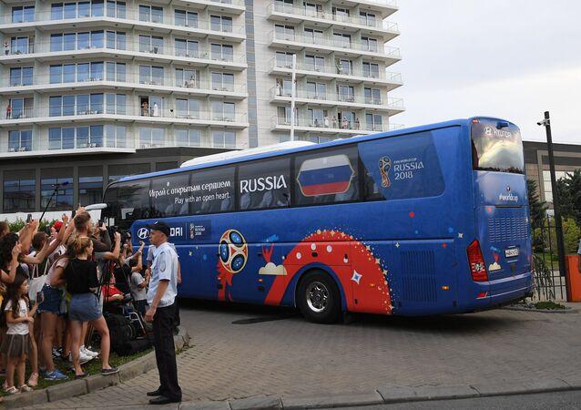 Arrival of Russian football team in Sochi