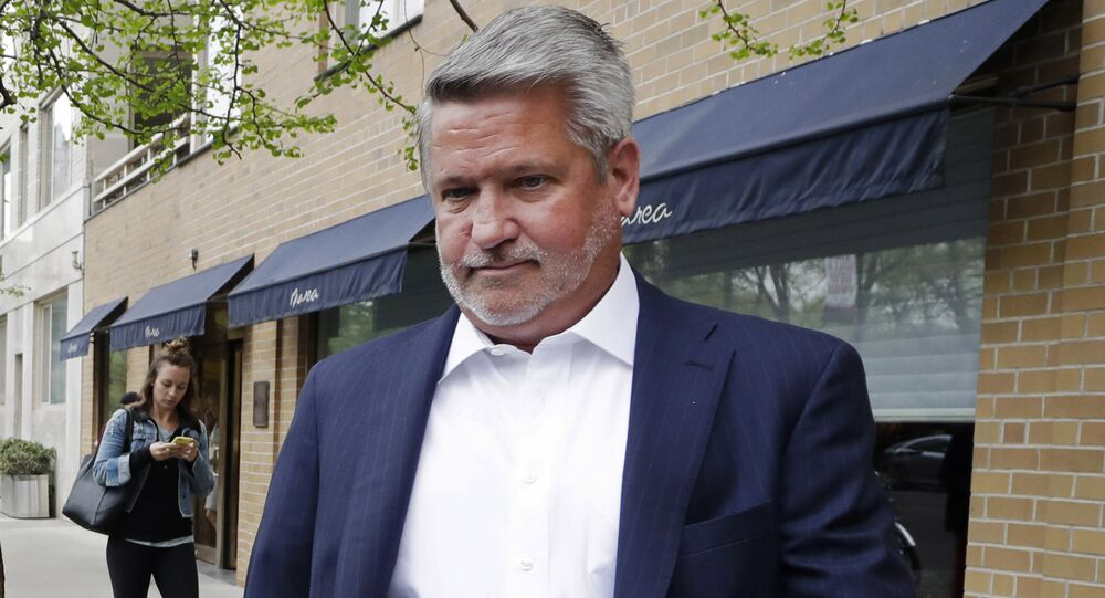 FILE - In this April 24, 2017, file photo, then-Fox News co-president Bill Shine, right, leaves a New York restaurant.