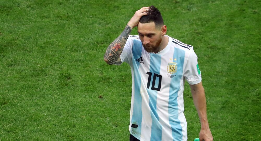 Soccer Football - World Cup - Round of 16 - France vs Argentina - Kazan Arena, Kazan, Russia - June 30, 2018 Argentina's Lionel Messi looks dejected at the end of the match