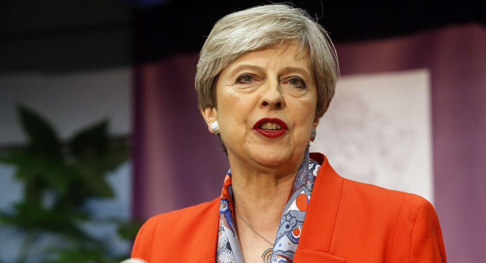 Britain's Prime Minister Theresa May speaks after the declaration at her constituency is made for in the general election in Maidenhead, England, Friday, June 9, 2017.