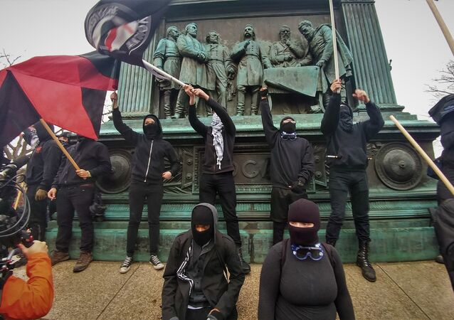 Anti-capitalist protesters rally in DC during US President Donald Trump's inauguration.