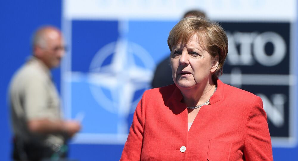 German Chancellor Angela Merkel arrives for the NATO (North Atlantic Treaty Organization) summit at the NATO headquarters, in Brussels, on May 25, 2017
