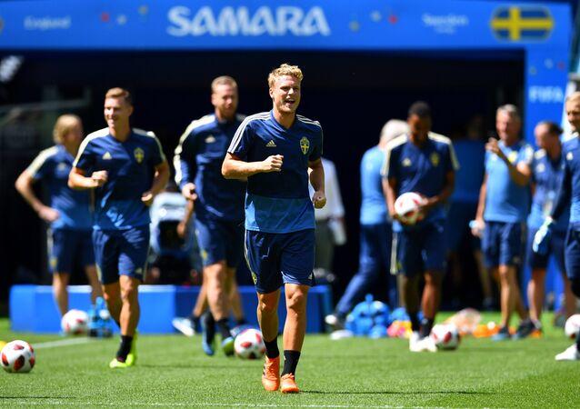 Soccer Football - World Cup - Sweden Training - Samara Arena, Samara, Russia - July 6, 2018 Sweden's Oscar Hiljemark during training
