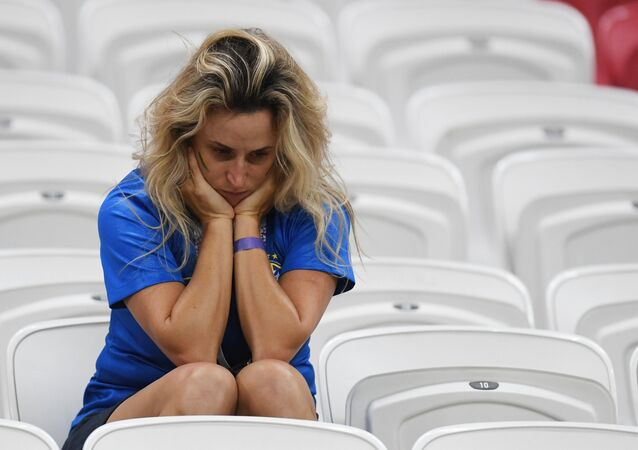 A football fan at the Brazil-Belgium World Cup match on July 6
