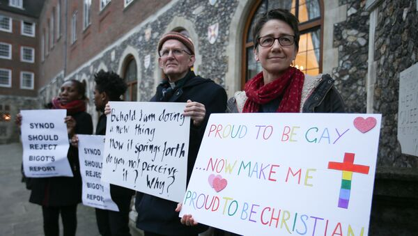 Demonstrators hold placards as they protest outside Church House, the venue of the Church of England's General Synod, in London on February 15, 2017 - Sputnik International
