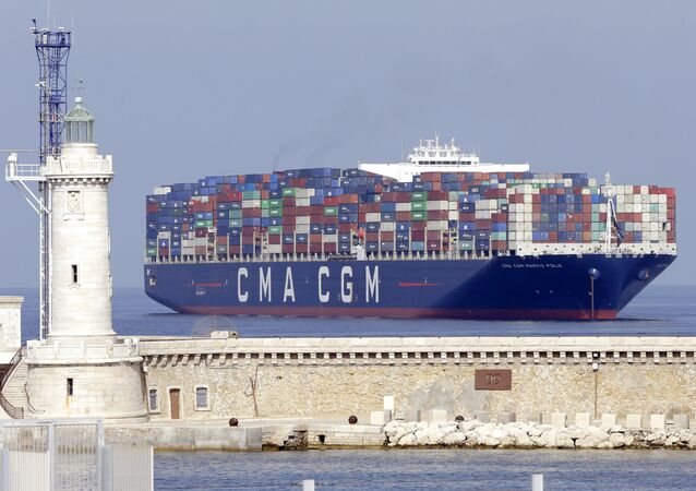 The Marco Polo containers ship docks off Marseille for Jacques Rodolphe Saade funerals, founder of the CMA-CGM, at the La Major cathedral, in Marseille, southern France , Friday 29, June, 2018