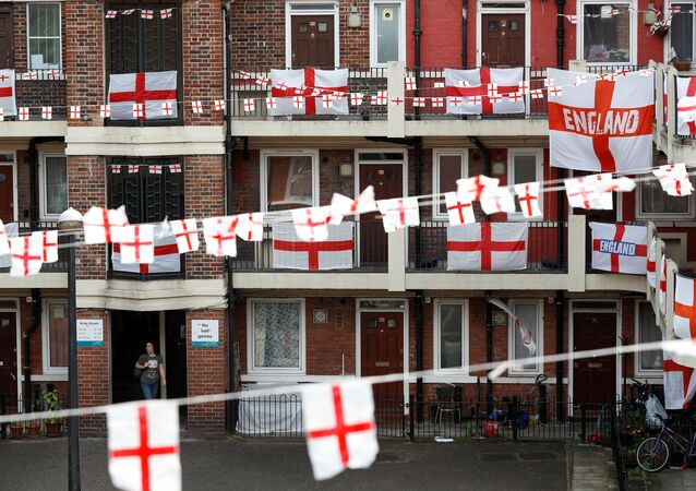 The Kirby Estate in Bermondsey can be seen festooned with St George's Cross England flags in south east London, Britain, June 17, 2018