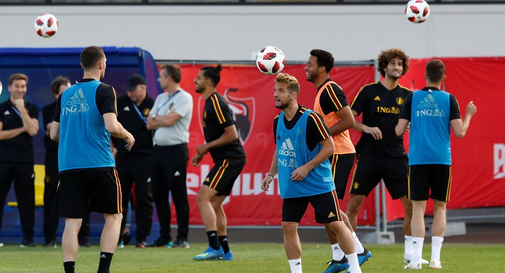 Soccer Football - World Cup - Belgium Training - Belgium Training Camp, Dedovsk, Russia - July 8, 2018 Belgium's Dries Mertens during training