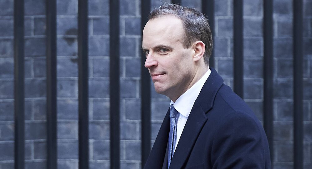 In this file photo taken on February 06, 2018 Dominic Raab, then Minister of State for Housing and Planning, leaves 10 Downing street after the weekly cabinet meeting on February 6, 2018 in London
