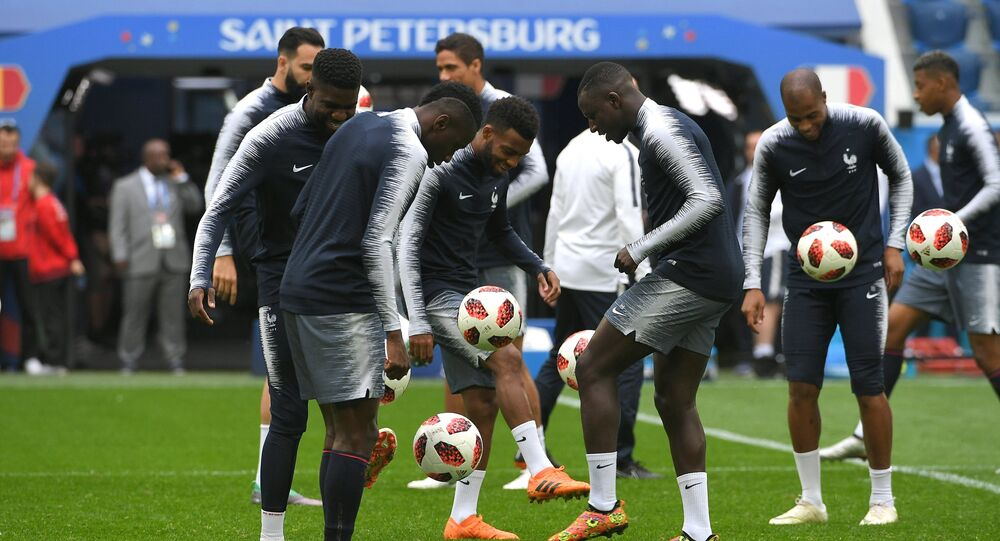 Players of the French national football team are training before the semifinal match against Belgium in St. Petersburg.