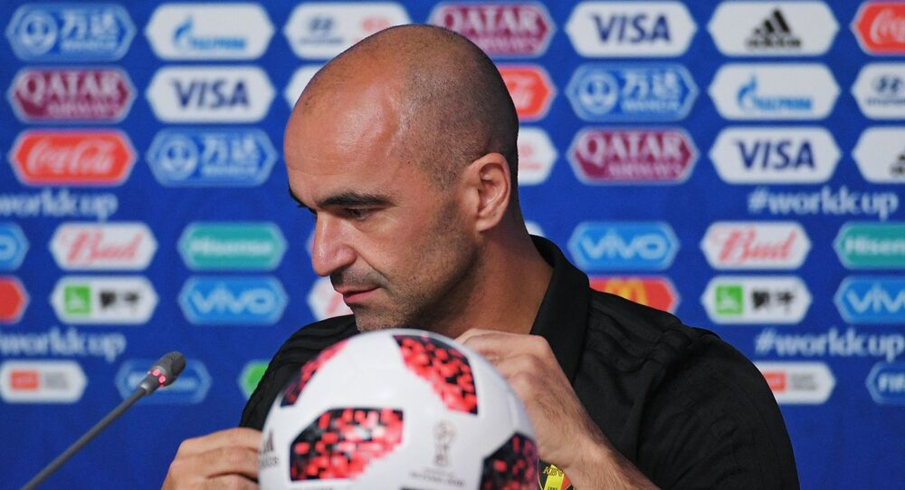 Head coach of the Belgian national team Roberto Martinez at a press conference on the eve of the semi-final match of the World Cup against France.