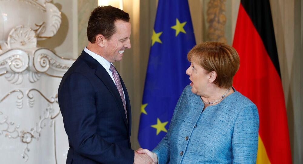 German Chancellor Angela Merkel receives the ambassador of U.S. to Germany, Richard Grenell, in Meseberg, Germany July 6, 2018