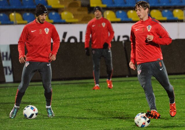 Players of the Croatian national team Šime Vrsaljko (left) and Ognjen Vukojevic during training on the eve of a friendly match against the Russian national team in Rostov-on-Don.