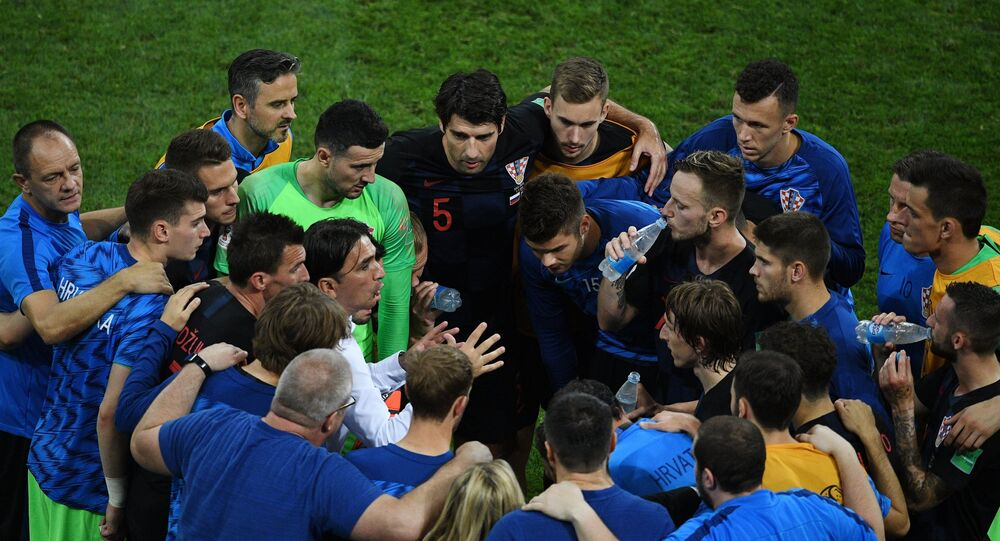 In the center to the left: Head coach Zlatko Dalić (Croatia) and players of the Croatian national team before the penalty shootout in the 1/4 finals match between Russia and Croatia.