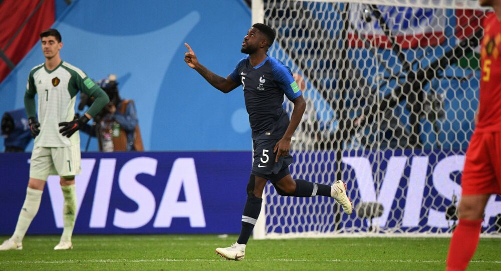 France's Umtiti after scoring goal in World Cup's semifinals match against Belgium on July 10, 2018. Saint Petersburg, Russia.